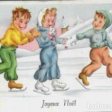 Postales: POSTAL NAVIDAD * NIÑOS PATINANDO EN LA NIEVE *. Lote 176356333