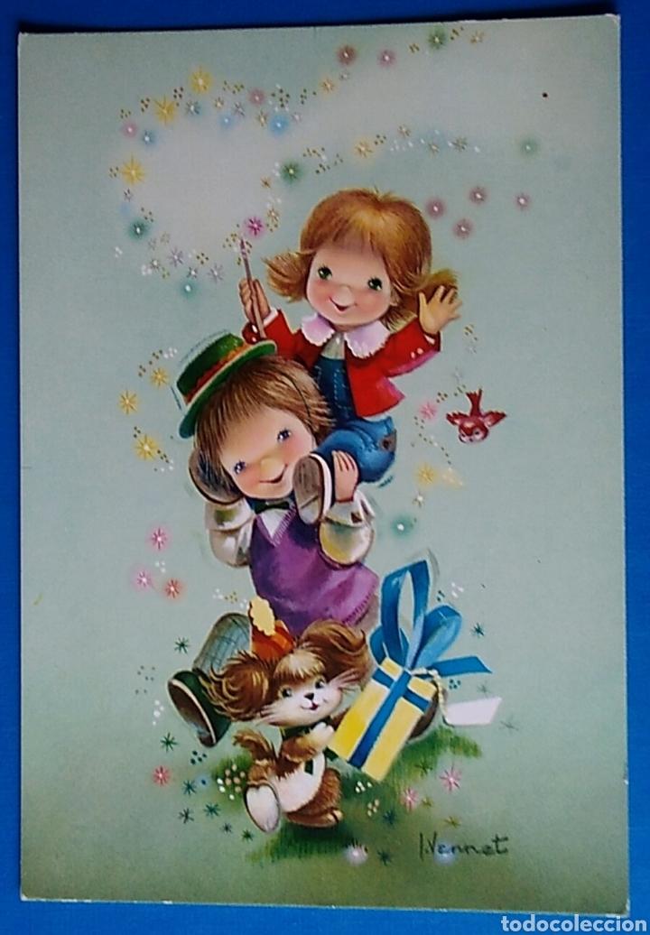POSTAL FELICITACION NAVIDAD ILUSTRA VERNET NIÑOS CON REGALOS ESCRITA (Postales - Postales Temáticas - Navidad)