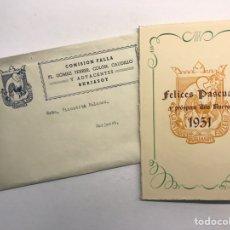 Postales: BURJASOT (VALENCIA) FALLAS. PLAZA GOMEZ FERRER, COLÓN, CAUDILLO Y ADYACENTES.. (A.1951). Lote 176695475