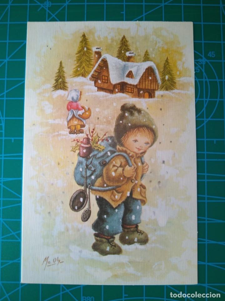 ORTIZ X294B 1982 NIÑOS ZURRON/CACHARROS/PAISAJE NEVADO. POSTAL DIPTICA. ILUSTRA MA OLY. ESCRITA (Postales - Postales Temáticas - Navidad)