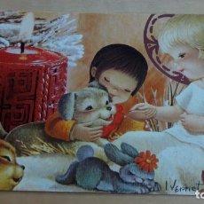 Postales: ESTAMPA SENCILLA NAVIDAD ILUSTRADA POR VERNET 13X8 CM. ESCRITA. Lote 177568275