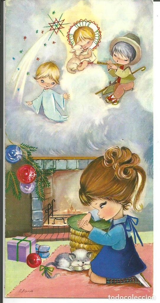 POSTAL NUCO (NURIA BARÓ) - NIÑA MIRANDO LOS REGALOS - ED. CYZ 3619/154-B - DIPTICA, 16X8 CM (Postales - Postales Temáticas - Navidad)