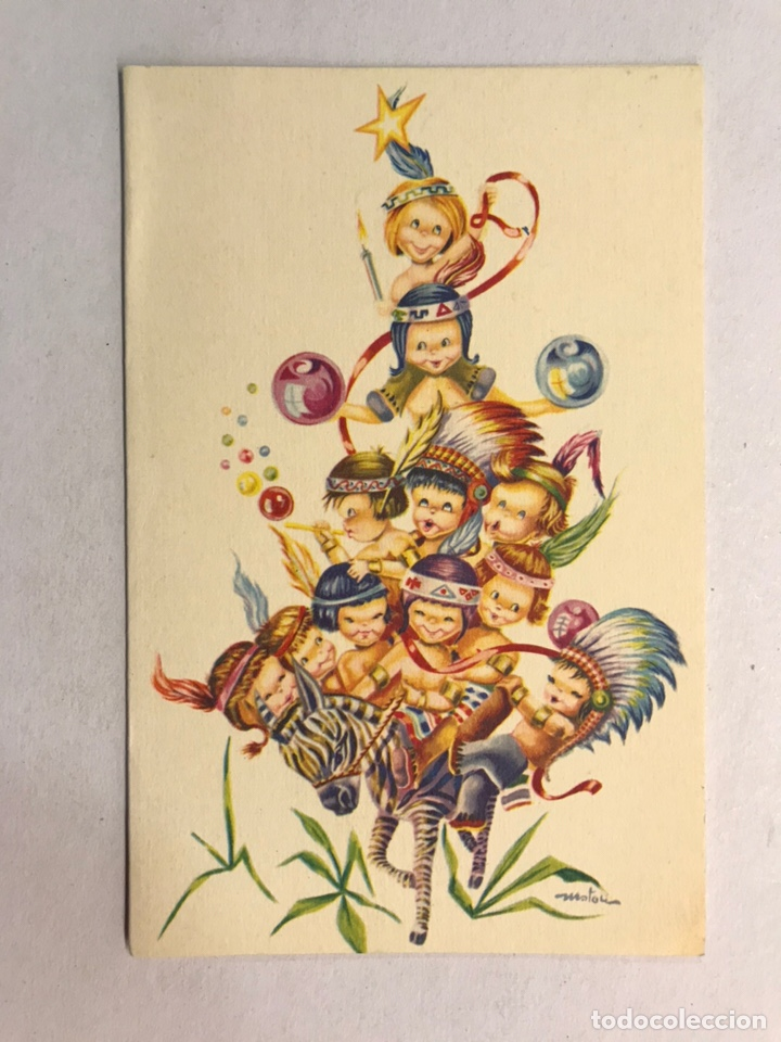 NAVIDAD. FELICITACIÓN NAVIDEÑA ILUSTRADA POR MATEU? , EDITA: CREACIÓNES GILE (A.1962) (Postales - Postales Temáticas - Navidad)