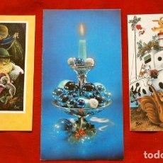 Postales: 3 ANTIGUAS FELICITACIONES DE NAVIDAD MARCA CREACIONES - DIPTICAS - ESCRITAS -ILUSTRADORES AXEL PAQUI. Lote 178366498