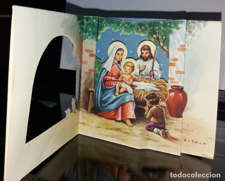 FELICITACION TROQUELADA NAVIDAD ESTELA * NACIMIENTO * 1961 (Postales - Postales Temáticas - Navidad)