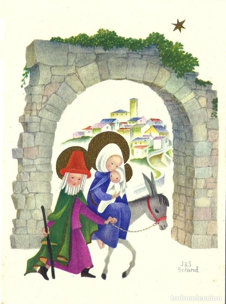 0834M - J&S BOLAND - IMPRESA EN BELGICA- SERIE NATIVITÉ Nº 195 - DIPTICA 15X11 CM (Postales - Postales Temáticas - Navidad)