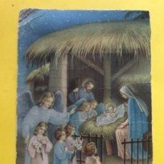 Postales: ANTIGUA POSTAL BELEN PESEBRE ANGEL DE LA GUARDA NIÑOS CON OFRENDAS NACIMIENTO VIRGEN SAN JOSE . Lote 178973697