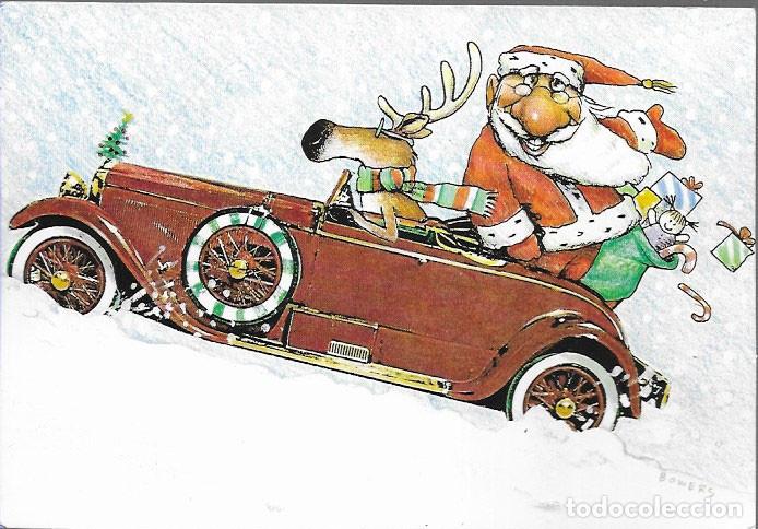 FELICITACION NAVIDAD * PAPÁ NOEL LLEGANDO EN COCHE * 1989 (Postales - Postales Temáticas - Navidad)
