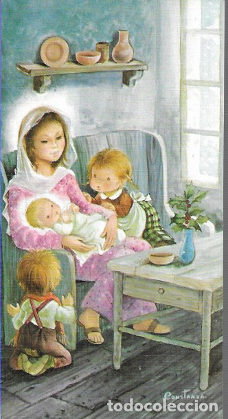 FELICITACION NAVIDAD CONSTANZA * LA VIRGEN CON JESÚS Y UNOS NIÑOS * 1983 (Postales - Postales Temáticas - Navidad)