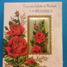 Postales: TARJETA NAVIDEÑA. FERVIENTES SALUDOS DE NAVIDAD A MIS HERMANAS. NADAL, 1965. DÍPTICO. USADA. Lote 179126667