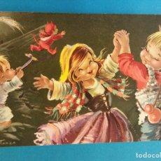 Postales: TARJETA NAVIDEÑA. NIÑOS DANZANDO. NADAL, 1963. DÍPTICO. USADA. Lote 179126956