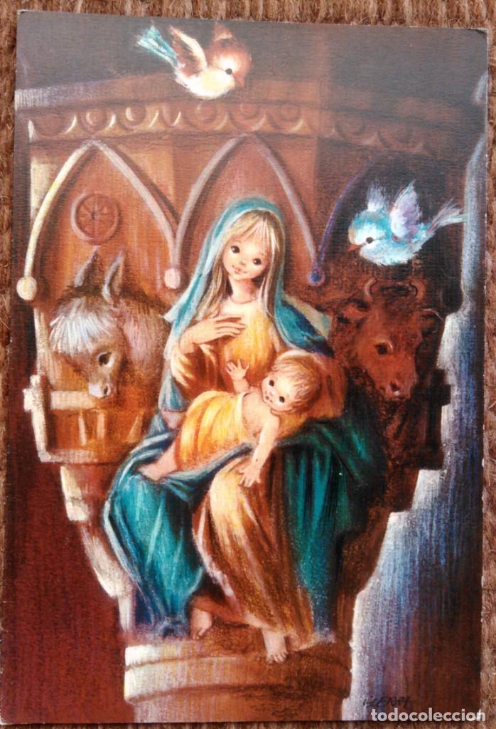 TARJETA DE NAVIDAD - ILUSTRACION GUERRA (Postales - Postales Temáticas - Navidad)