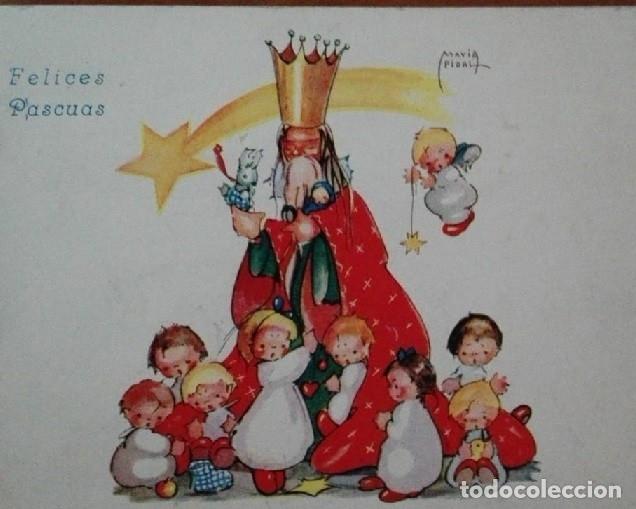0814L - MARIA PIDAL - ANTIGUA POSTAL NAVIDEÑA- DIPTICA 15X11 CM - DATA 1945 (Postales - Postales Temáticas - Navidad)