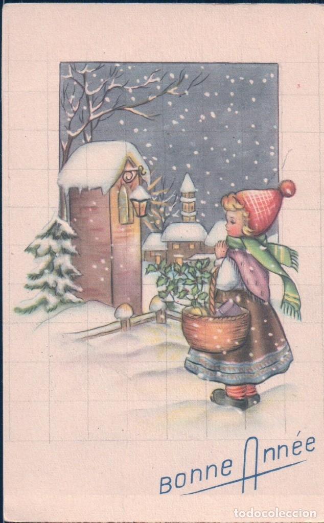 POSTAL FELIZ AÑO NUEVO - CARICATURA NIÑA EN LA NIEVE 195/2 P.C PARIS (Postales - Postales Temáticas - Navidad)
