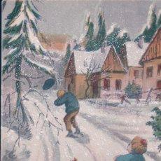 Postales: POSTAL NAVIDAD - NIÑOS JUGANDO EN LA NIEVE- M.L. PARIS 855. Lote 180226607