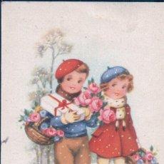 Postales: POSTAL CARICATURA NIÑOS CON REGALOS DE NAVIDAD - PERRO - NIEVE - SERIE ENFANTS. Lote 180227151