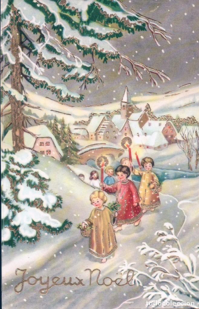 POSTAL NAVIDAD - EN RELIEVE - NIÑOS CON VELA - NIEVE (Postales - Postales Temáticas - Navidad)