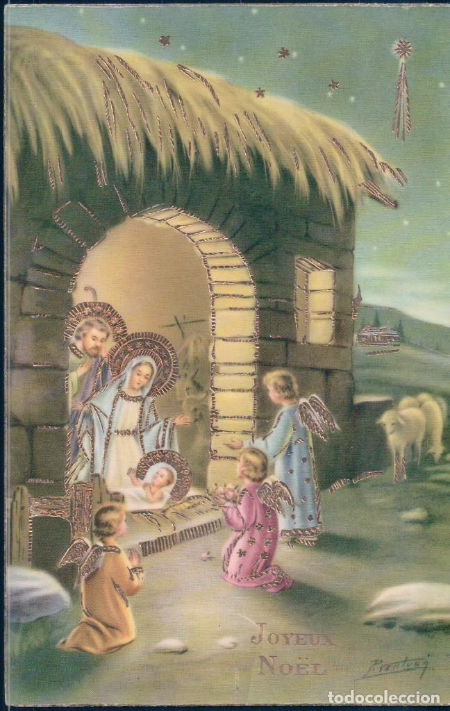 POSTAL EN RELIEVE NAVIDAD - NIÑOS JESUS MARIA JOSE ANGELES ESTABLO - ESTRELLA - GECAMI 4420 (Postales - Postales Temáticas - Navidad)