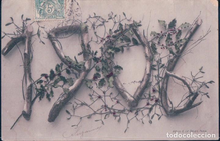 POSTAL FELICITACION AÑO 1906 - HELIO E LE DEY - CIRCULADA (Postales - Postales Temáticas - Navidad)