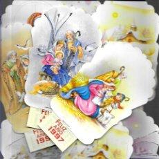 Postales: 9 CALENDARIOS FELICITACIONES NAVIDAD LÓPEZ *ADORNADOS CON PURPURINA -1997. Lote 180444575