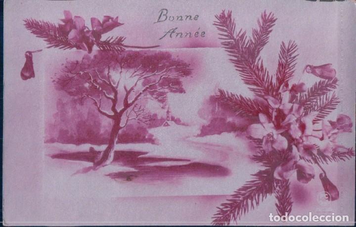 POSTAL NAVIDAD - BONNE ANNEE - MOTIVOS NAVIDEÑOS - FONDO PLATEADO - P C PARIS - ESCRITA (Postales - Postales Temáticas - Navidad)