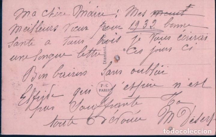 Postales: POSTAL NAVIDAD - BONNE ANNEE - MOTIVOS NAVIDEÑOS - FONDO PLATEADO - P C PARIS - ESCRITA - Foto 2 - 180918287