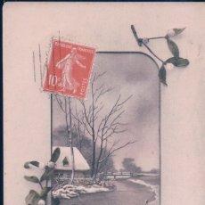 Postales: POSTAL NAVIDAD - BONNE ANNEE - PAISAJE NEVADO ENMARCADO CON FLORES - CIRCULADA . Lote 180918745