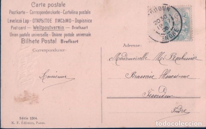 Postales: POSTAL NAVIDAD - BONNE FETE - BARCO CON FLORES LILAS NAVEGANDO - CIRCULADA - K F - Foto 2 - 180919401