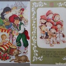 Postales: DOS FELICITACIONES NAVIDAD, PASTORCILLOS Y NIÑOS CATALANES, UNA USADA OTRA NO, AÑOS 70.. Lote 181406471