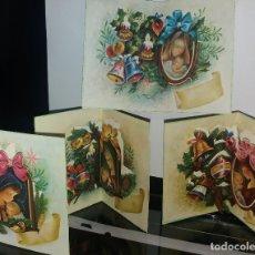 Postales: 4 FELICITACIONES TROQUELADAS NAVIDAD BARBA * LA VIRGEN Y EL NIÑO *.1973. Lote 182988945