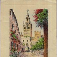 Postales: FELICITACION NAVIDAD J. LUIS * SEVILLA , PATIO DE BANDERAS * EME 1957. Lote 183298305