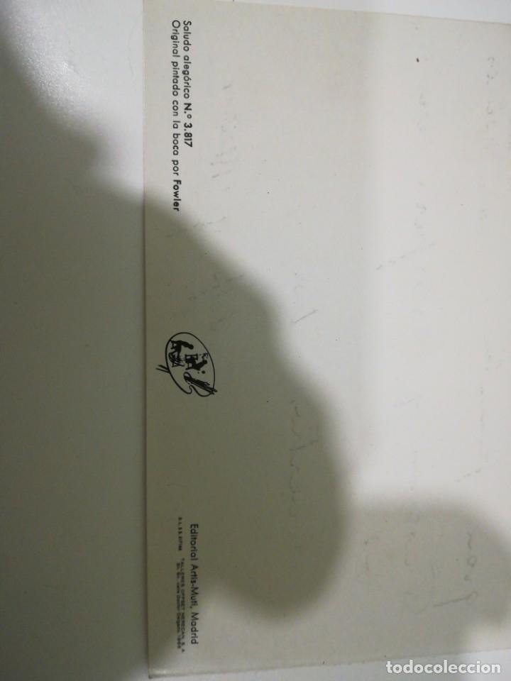 Postales: POSTAL NAVIDAD AÑOS 60 ORIGINAL PINTADO CON LA BOCA POR FOWIER - SALUDO ALEGORICO Nº3817 - Foto 4 - 183342082