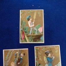 Postales: LOTE DE 3 CROMOS, POSTALES , FELICITACION LITOGRAFIADO.. Lote 183464980