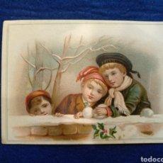Postales: CROMO, POSTAL , FELICITACION LITOGRAFIADO.. Lote 183467473