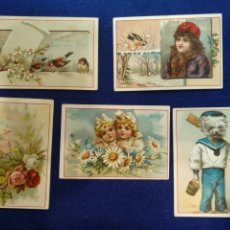 Postales: LOTE DE 5 CROMOS, POSTALES , FELICITACION LITOGRAFIADO. CON ENSEÑANZA EN EL REVERSO. Lote 183468131