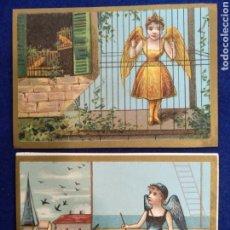 Postales: LOTE DE 2 CROMOS, POSTALES , FELICITACION LITOGRAFIADO.. Lote 183469136