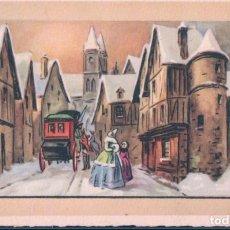 Postales: POSTAL BONNE ET HEUREUSE ANNEE - FELIZ AÑO NUEVO - DIBUJO PUEBLO NEVADO - ANIMADA - MD PARIS. Lote 183893088