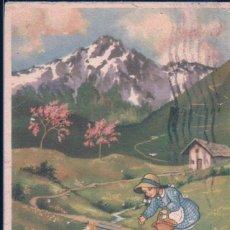 Postales: POSTAL BUONA PASQUA - FELIZ PASCUA EN ITALIANO - DIBUJO NIÑA DANDO DE COMER A POLLITOS - CIRCULADA. Lote 183995096