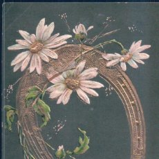 Postales: POSTAL BONNE ANNEE - FELIZ NAVIDAD - HERRADURA DORADA CON RELIEVES Y MARGARITAS - CIRCULADA. Lote 186323793