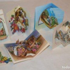 Postales: DE COLECCIÓN, AÑOS 60 // LOTE DE 5 CHRISTMAS / FELICITACIONES DE NAVIDAD, CON DIORAMAS ¡MIRA!. Lote 187303453