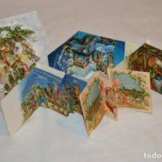 Postales: DE COLECCIÓN, AÑOS 60 // LOTE DE 5 CHRISTMAS / FELICITACIONES DE NAVIDAD, CON DIORAMAS ¡MIRA!. Lote 187304528