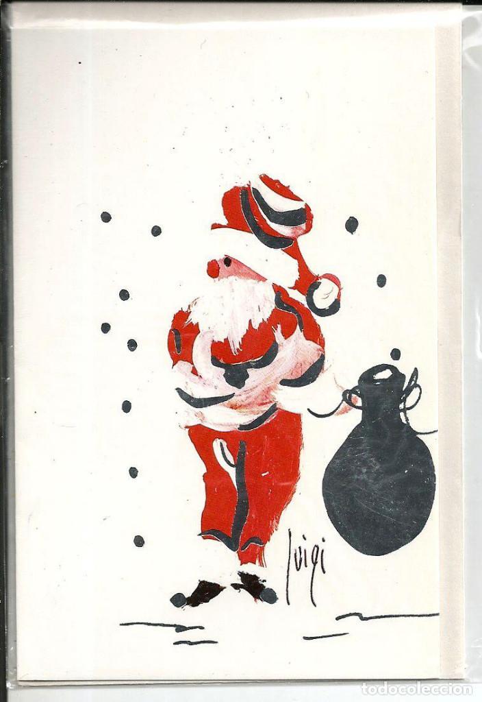 POSTAL NAVIDAD LUIGI *PAPA NOEL* - ED. CARVI - DIPTICA, 13X8,5 CM - CON SOBRE (Postales - Postales Temáticas - Navidad)