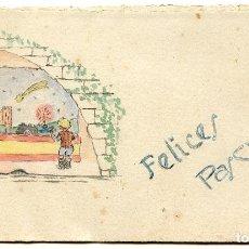 Postales: FELICITACIÓN DE NAVIDAD DIBUJO ORIGINAL PINTADO, CON VILLANCICO, 1943. Lote 189243075