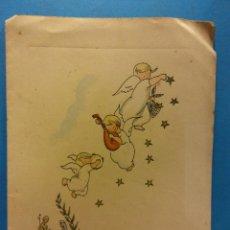 Postales: TARJETA NAVIDEÑA. ÁNGELES MUSICALES. DÍPTICO. SIN USAR. Lote 189274337