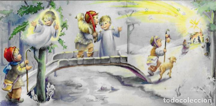 FELICITACION NAVIDAD NURIA BARÓ ( NUCO ) * NIÑOS CAMINO DEL PORTAL *1959 (21 X 10,50) (Postales - Postales Temáticas - Navidad)