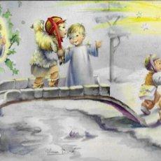 Postales: FELICITACION NAVIDAD NURIA BARÓ ( NUCO ) * NIÑOS CAMINO DEL PORTAL *1959 (21 X 10,50). Lote 189308343