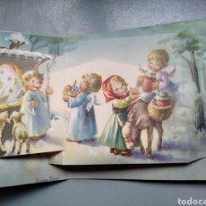 Postales: TARJETA DIPTICO FELICITACIÓN NAVIDAD DESPLEGABLE ILUSTRA NURIA BARÓ ESCRITA. Lote 190412011