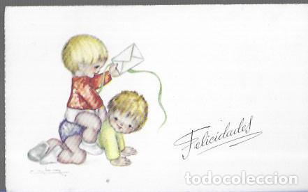 TARJETA NAVIDAD CABA * NIÑOS JUGANDO * 1961 (Postales - Postales Temáticas - Navidad)