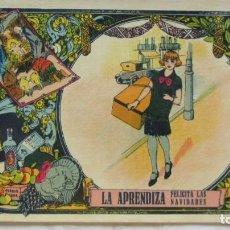 Postales: POSTAL DE NAVIDAD PRINCIPIOS SIGLO XX FELICITACION DE LA APRENDIZA. Lote 191660915