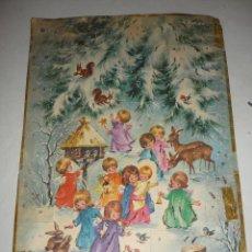 Postales: CALENDARIO ADVIENTO *EL NIÑO JESÚS CON LOS ANGELES Y ANIMALES DEL BOSQUE*, CON PURPURINA - 36X24 CM. Lote 193034437